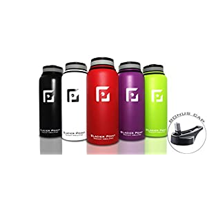 Best Vacuum Insulated Stainless Steel Water Bottle (32 OZ). Double Walled Construction. Powder Coat. Glacier Point (Red)