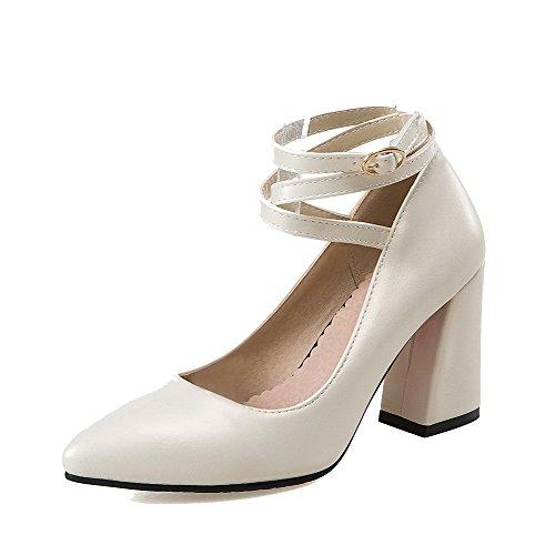 Allhqfashion Womens Pu Fibbia Tinta Unita Scarpe Con I Tacchi Alti-scarpe Beige