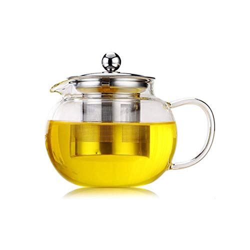 Mandalaa High Temperature Resistance Clear Borosilicate Glass Teapot Elegant Glass Tea Cup Teapot with Stainless Steel Infuser Tableware, Service and Linen -  Mandalaa--0820