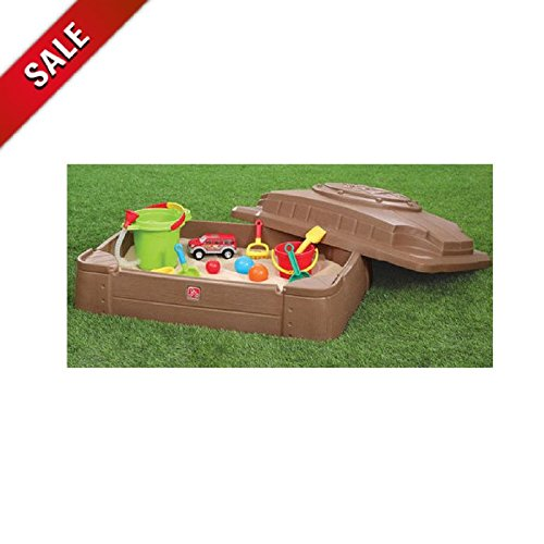 Sandbox with Lid Toys for Kids Outdoor Sandbox Large Plastic Sandbox with Cover Backyard Toddler Children & eBook by AllTim3Shopping