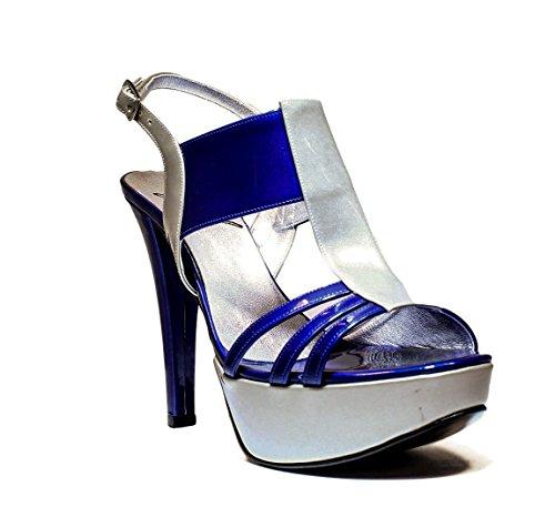 JO-EL Joel RPE Mujer Sandalia Joya Bombas, Tacones, Nueva Colección Primavera Verano 2016 de Cuero de Plata Azul