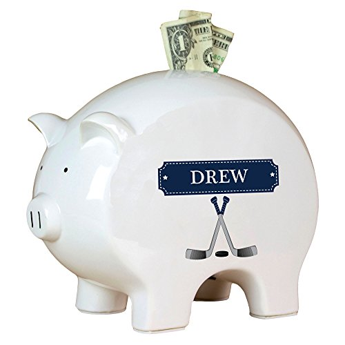 (Personalized Ice Hockey Piggy Bank)
