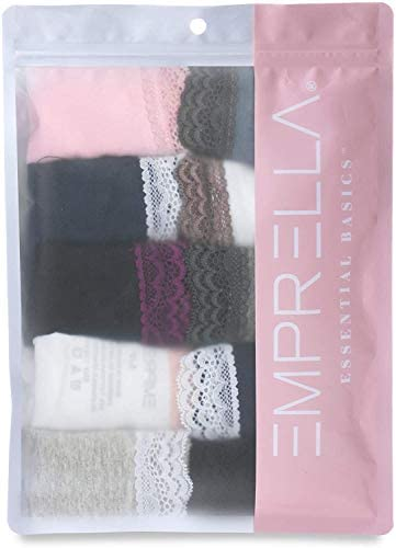 Emprella Womens Lace Underwear Hipster Panties Cotton-Spandex-10 Pack Colors and Patterns May Vary,Assorted