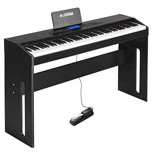 LAGRIMA Digital Piano, 88 Key Electric Piano Keyboard for Beginner/Adults W/Music Stand+Dust Cover+Power Adapter+1-Pedal Board+Instruction Book+Headphone Jack(Black Only Piano)