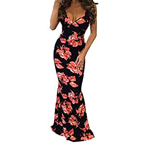 Kaured Comfy Women's Floral Off Shoulder Bodycon Evening,3XPlus,Redfloral