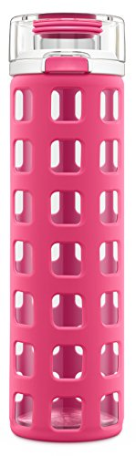 Ello Syndicate BPA-Free Glass Water Bottle with Flip Lid, Pink, 20 oz.