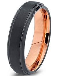 Tungsten Wedding Band Ring 6mm for Men Women Black & 18K Rose Gold Beveled Brushed Polished Lifetime Guarantee