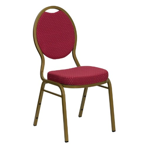 MFO Teardrop Back Stacking Banquet Chair with Burgundy Patterned Fabric and 2.5'' Thick Seat - Gold Frame