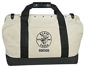 Klein Tools 5003-20 Canvas Tool Bag with Leather Bottom, 20-Inch
