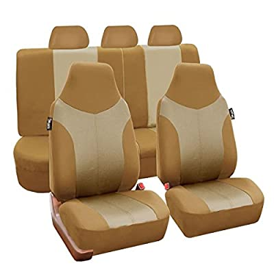 FH GROUP FB101115 Supreme Twill Fabric High-back Full Set Car Seat Covers, Airbag and Split Ready, Beige Color- Fit Most Car, Truck, Suv, or Van