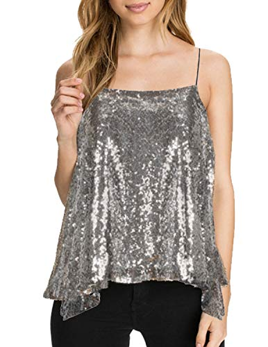 ASMAX HaoDuoYi Womens Sparkly Sequin Spaghetti Strap Crop Top(XXL,Silver)