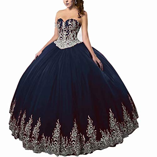 DingDingMail Navy Blue Ball Gown Wedding Dresses for Bride 2019 Sweetheart Tulle Quinceanera Dresses