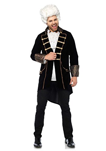 Leg Avenue Women's Men's Deluxe Count Drac Vampire Costume, Black/Gold, MED/LGE -