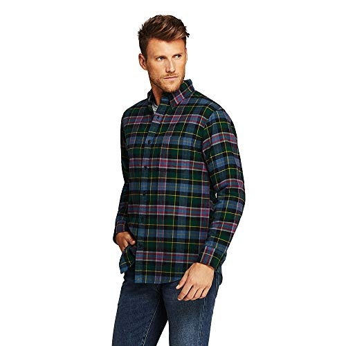 Lands' End Men's Traditional Fit Flagship Flannel Shirt, M, Wisconsin Plaid from Lands' End