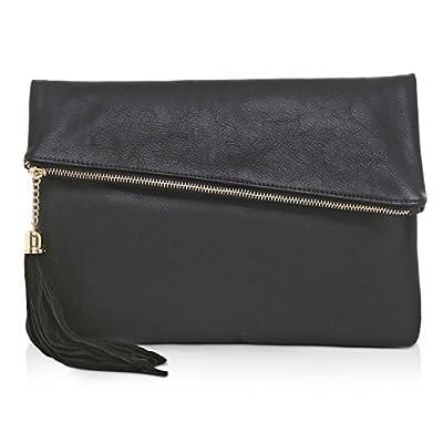 MG Collection Foldover Clutch Purse / Fashion Evening Handbag with Tassel