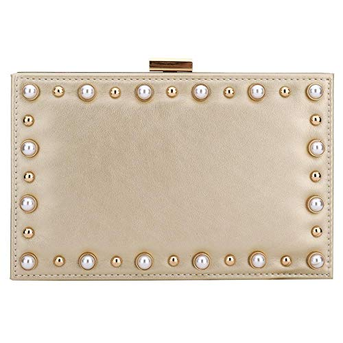 For Designer Cocktail Purse Handbag Pearl Leather Party Clutch Womens Clutch Gold Evening Wedding EROUGE qC5zUU