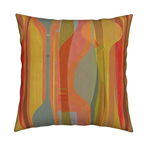 Velvet Putty - Roostery Southwest Adobe Putty Velvet Throw Pillow Cover Gold Orange Red Clay Bu Plateau Strata Geology Midcentury Modern Mod Minimal Shape Art Stripe by Wren Leyland Cover w Optional Insert
