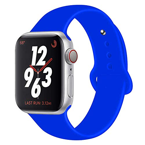 (Chumei Sporty Band Compatible with Apple Watch, Soft Silicone Replacement Wristband Strap Band for iWatch Series 1 Series 2 Series 3 Series 4 (42MM/44MM M/L Royal Blue N))