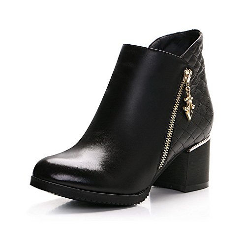 Allhqfashion Women's Blend Materials Soft Material Kitten Heels Boots with Rubber Bottom and with Crude Black 49X7S