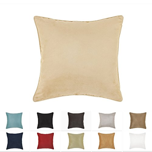 DreamHome 26 X 26 Inches Beige Color Faux Suede Decorative Euro Pillow Cover, Throw Pillow Case with Hidden Zipper, Super Soft High Quality Faux Suede On Both Sides (Sham Euro Beige)