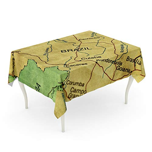 (Emvency Rectangle Tablecloth 60 x 102 Inch Orange Old Ancient World Map of Brazil Yellow Antique Arranging Burnt Canvas Cartography Table Cloth )