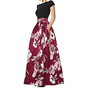 Delcoce Women's Sexy Two-Piece Floral Print Pockets Long Party Skirts Dress S-2XL 19