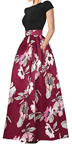Delcoce Women's Summer Tops Skirt Set Floral Print Maxi Dresses with Pockets Set XL
