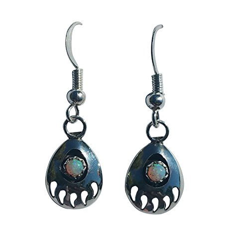 Small St. Sterling Silver 925 Bear Claw Created Fire Opal Handcrafted Navajo Dangling Earrings -Sterling Silver EarWire