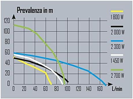 Ribiland PRMCA5GD Pompa di Superficie 20x19x45 cm Grossa Nero//Argento 2300 W Portata