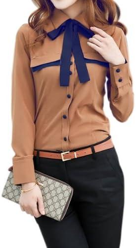 Camisa Blusa Manga Larga Botones Corbata Talla S M L XL XXL para ...