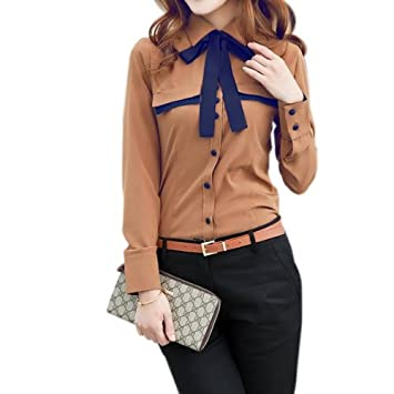 Camisa Blusa Manga Larga Botones Corbata Talla S M L XL XXL para Mujer