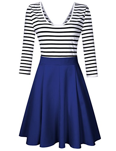 MISSKY Women Stripe Long Sleeve Sexy Round Neck and V Neck Slim Fit Flare Cute Mini Swing Casual Cocktail Dress (S, Dark Blue Long - Round Blue V