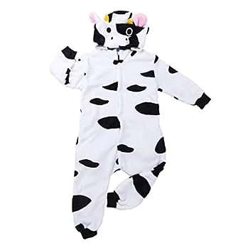 3d4716bc43 iiniim Pijama Vaca Forro Polar Franela para Niña Niño Mono Animal Unisex  con Capucha Cálido Peluche Disfraz Cosplay Body Ropa de Dormir Traje  Infantil ...