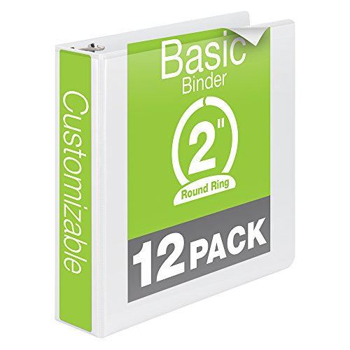 Wilson Jones 2 Inch 3 Ring Binder, Basic Round Ring View Binder, White, 12 Pack (W362-44WPK) ()