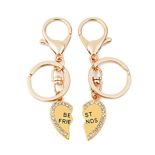 QSKS Best Bitches Keychain Best Friends BFF Lovers Engraved Heart Key Ring,2pcs