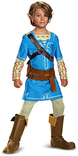 Link Breath Of The Wild Deluxe Costume, Blue, Large (10-12) -