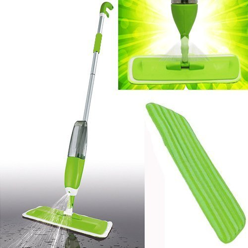 2 in 1 Spray Mop Kit with Window Cleaner | Reusable Microfibre Pad with...