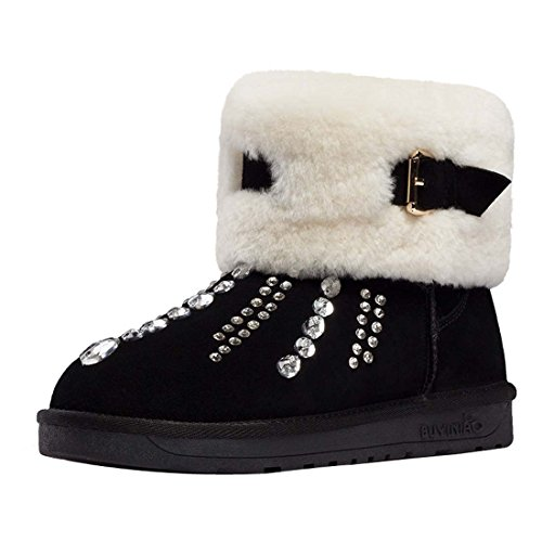 HooH Women's Nubuck Diamonds Buckle Warm Snow Boots Black C0itfd