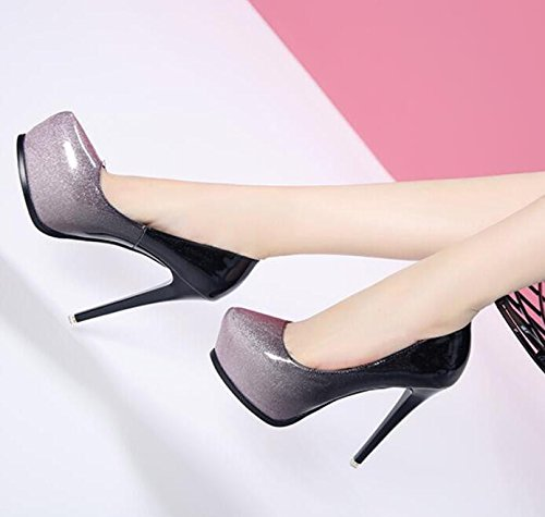 Spring Trendy Single Autumn Shoes New Shoes 39 Shoes Painted Of Waterproof Taiwan Nightclub The HGTYU The High Leather Women'S In Is With Light And Heeled Butt Color Fine Tip FwUSxaq