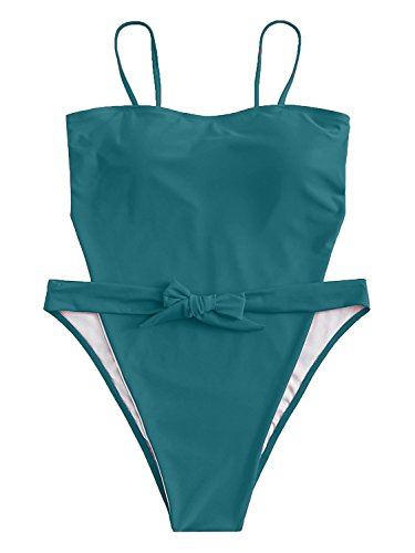 ioiom Women Sexy Spaghetti Strap Self Tie Front High Waist Cut One Piece Swimsuit Green M by ioiom (Image #5)
