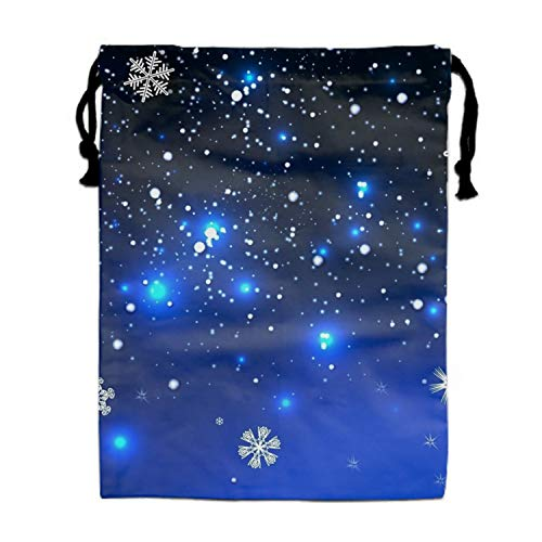 Drawstring Backpacks Cheap for Kids Party Sparkling Snowflakes Favors Bags Gym Drawstring Bags Bulk ()