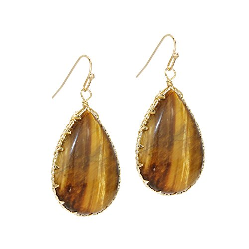 Pomina Hand Crafted Natural Stone Teardrop Earrings - Glasses Brand Ti