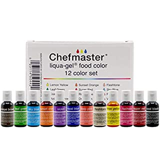 Chefmaster - Liqua-Gel Food Coloring - Fade Resistant Food Coloring - 12 Pack - Vibrant, Eye-Catching Colors, Easy-To-Blend Formula, Fade-Resistant