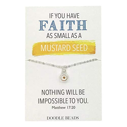 Mustard Seed Necklace (Doodle Beads Mustard Seed Silver Color Faith Necklace with Sparkling 16-18