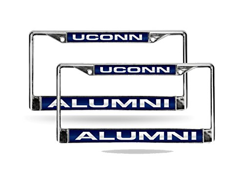 Rico UCONN Huskies Alumni Chrome Metal (2) Laser Cut License Plate Frame Set - University of Connecticut