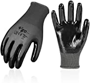 Vgo 10Pairs Nitrile Coating Gardening and Work Gloves (Size L, Grey, NT2110)