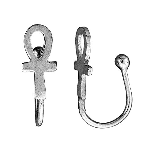 Small Sterling Silver Ankh Nose Ring / Ear cuff Non-Pierced (one piece) 1/2 inch (Small Ring Ankh)