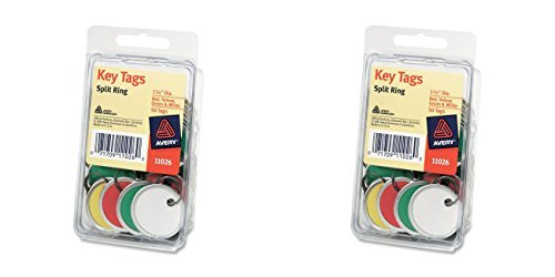 Avery Metal Tags (Avery Assorted Split Ring Metal Rim Key Tag , 1-1/4 Inches, Pack of 50 (11-026), 2 Packs)