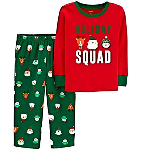 Carter's Boys' 2-Piece Cotton and Fleece Pajamas (Holiday Squad, 5T)