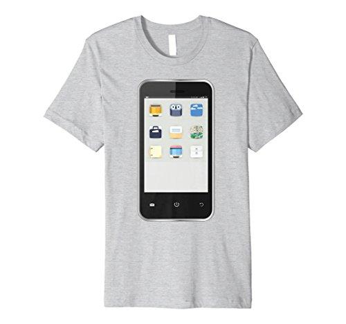 Mens Cell Phone T-shirt Easy Group Halloween Costume Idea XL Heather Grey ()